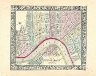 New Orleans, World Atlas 1864 Mitchells New General Atlas